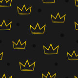 Seamless pattern with crowns. Drawn by hand. Stock Image