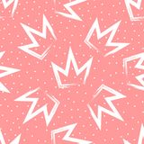Seamless pattern with crowns painted brush strokes. Background with round dots. Stock Image