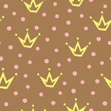 Seamless pattern with crowns painted by hand rough brush. Randomly scattered dot. Stock Photography