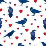 Seamless pattern with crows and heart symbols in blue and red colors on a white background. Vector illustration Vector Illustration