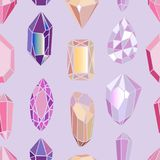 Seamless pattern crystals and minerals. Seamless pattern with crystals and minerals Royalty Free Stock Photo
