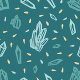 Seamless pattern with crystals of turquoise, blue and yellow. Vector illustration Stock Photo