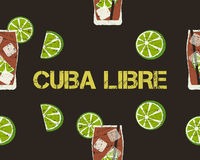 Seamless Pattern of Cuba Libre cocktail with lime Royalty Free Stock Images
