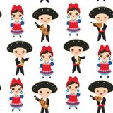 Seamless pattern Cubans boy and girl in national costume and hat Cartoon children in traditional Cuba dress, Mariachi group Musica. L guitar, viola, violin Stock Photos