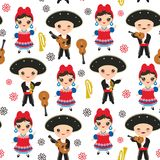 Seamless pattern Cubans boy and girl in national costume and hat Cartoon children in traditional Cuba dress, Mariachi group Musica. L guitar, viola, violin Stock Photography