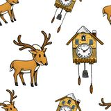 Seamless pattern cuckoo clock, deer. Merry Christmas or xmas, New Year Collection. winter holiday decoration. engraved Royalty Free Stock Photography
