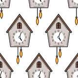 Seamless pattern with cuckoo clock on white background. Royalty Free Stock Image