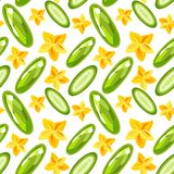 Seamless pattern of cucumbers royalty free stock photography