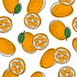 Seamless pattern with cumquat or kumquat with leaf. Vector illustration on white isolated background. vector illustration