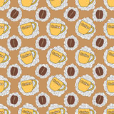Seamless pattern with cup and coffee bean Royalty Free Stock Images