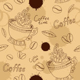 Seamless pattern with cup coffee beans and blots Royalty Free Stock Photography