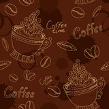 Seamless pattern with cup coffee beans and blots Royalty Free Stock Image