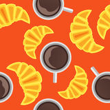 Seamless pattern with cup of coffee and croissant. On orange background Stock Images