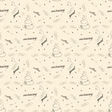 Seamless pattern with cup of coffee and good morning wishes - vector illustration Royalty Free Stock Images