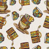 Seamless pattern with cup Stock Photos