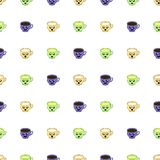 Seamless pattern with cup emoticons on white background. Kawaii doodle cups character with cute anime expressions. Vector. Illustration for design, web stock illustration