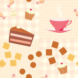 Seamless pattern with a cup of tea, cake, candies  and cookies Royalty Free Stock Photography