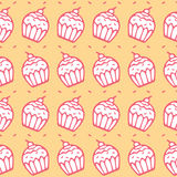 Seamless pattern of cupcake background Stock Photography