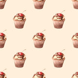 Seamless pattern, Cupcake with cherries. Watercolor hand illustration Stock Photos