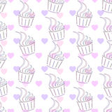 Seamless pattern. Cupcake and heart. Royalty Free Stock Photos