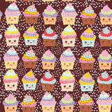 Seamless pattern Cupcake Kawaii funny muzzle with pink cheeks and winking eyes, pastel colors on chocolate brown background. Vecto Stock Photos