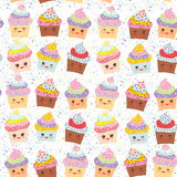 Seamless pattern Cupcake Kawaii funny muzzle with pink cheeks and winking eyes, pastel colors on white background. Vector Royalty Free Stock Image