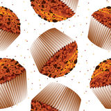 Seamless pattern cupcake muffin, cupcake backgroun. D muffin, chocolate chip muffins on a white background in multi-colored polka dots Royalty Free Stock Photography