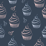 Seamless pattern  cupcake. Seamless pattern with cupcake in pastel colors on dark blue background Royalty Free Stock Images