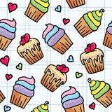 Seamless pattern with cupcakes Royalty Free Stock Photos