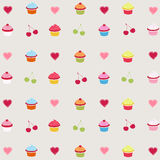 Seamless pattern cupcakes Stock Images