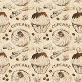 Seamless pattern with cupcakes Stock Image