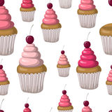 Seamless pattern with cupcakes and cherries. Hand drawn design. Stock Images