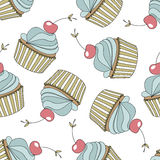 Seamless pattern with cupcakes,cherry. Vector Stock Photos
