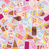 Seamless pattern cupcakes with cream, ice cream in waffle cones, ice lolly  Kawaii with pink cheeks and winking eyes, pastel color. S on light lilac background Stock Image