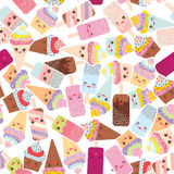 Seamless pattern cupcakes with cream, ice cream in waffle cones. Ice lolly,  Kawaii with pink cheeks and winking eyes, pastel colors on white background Stock Photography