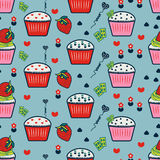 Seamless pattern with cupcakes, Cupcakes background, Blue backgr. Ound Stock Illustration