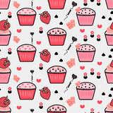 Seamless pattern with cupcakes, Cupcakes background, Cream backg. Round Vector Illustration