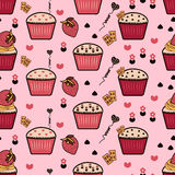 Seamless pattern with cupcakes, Cupcakes background, Pink backgr. Ound Royalty Free Illustration