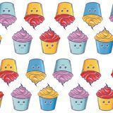 Seamless vector pattern of cupcakes. Seamless pattern of cupcakes with different colors made in vector Royalty Free Stock Images