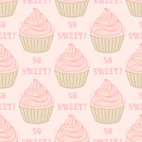 Seamless pattern with cupcakes Stock Photography