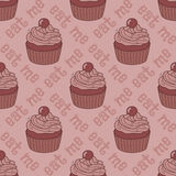 Seamless pattern with cupcakes Stock Photos