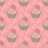 Seamless pattern with cupcakes Stock Photo