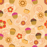 Seamless pattern with cupcakes and flowers Royalty Free Stock Photography