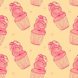 Seamless pattern with cupcakes in hand drawn retro style. vector illustration