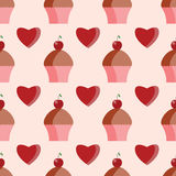 Seamless pattern of  cupcakes and hearts Royalty Free Stock Images