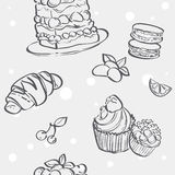 Seamless pattern with cupcakes image, croissant and flan Stock Photography