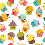 Seamless pattern with cupcakes and muffins. Cute cartoon  Royalty Free Stock Images