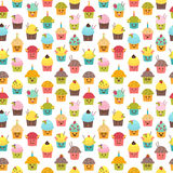 Seamless pattern with cupcakes and muffins. Kawaii cupcakes. Cut Stock Photo