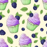 Seamless pattern cupcakes strawberry raspberry cherry. Hand drawing. Vector illustration. Seamless pattern cupcakes strawberry raspberry cherry. Hand drawing royalty free illustration