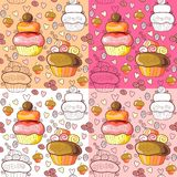 Seamless pattern of cupcakes. Seamless pattern of sweet cupcakes Stock Images